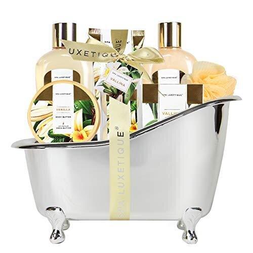 Spa Luxetique Spa Gift Set, Vanilla Bath Set, Luxury 8pc Gift Sets for Women, Pampering Bath Tub Spa Set Includes Shower Gel, Bubble Bath, Bath Bomb