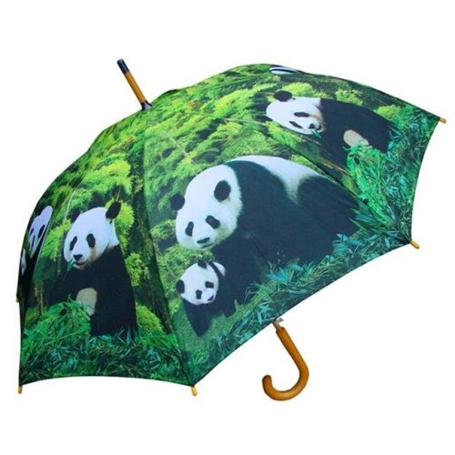 RainStoppers W3562PANDA 46 in. Auto Open Panda Family Print Umbrella with Wood Hook Handle, 12 Piece
