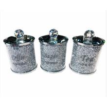 Sparkle Palace Crushed Diamond Crystal Silver Tea, Coffee & Sugar Jars
