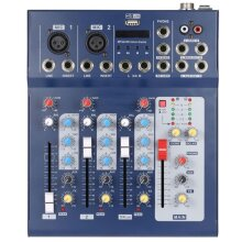 F4-USB 3 Channel Digital Mic Line Audio Mixing Mixer Console with 48V Phantom Power for Recording DJ Stage Karaoke