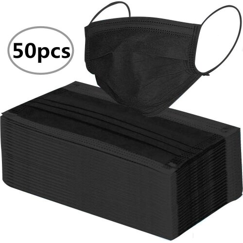 50pc Disposable 3 Layer Adult Face Masks - Black