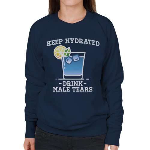 (X-Large, Navy Blue) Anti Men Keep Hydrated Drink Male Tears Women's Sweatshirt