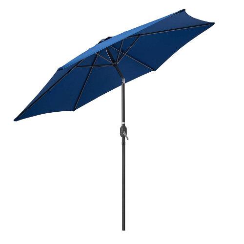 (Navy) Garden Parasol Umbrella Crank Tilt Outdoor Aluminium Sun Shade UV 2.7m Christow