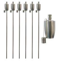Garden Fire Torch Oil Paraffin Flame Lanterns - 146cm Barrel Design x6