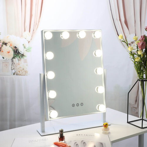 With Lights Dressing Vanity Makeup Mirror Desk Table Bright 12 LED