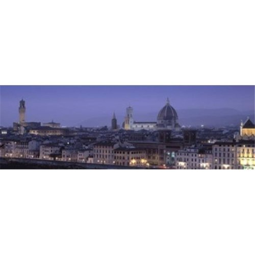 High angle view of a city at dusk  Florence  Tuscany  Italy Poster Print by  - 36 x 12