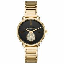 Michael Kors Portia Ladies Watch MK3788 Black Dial Gold Tone Stainless Strap