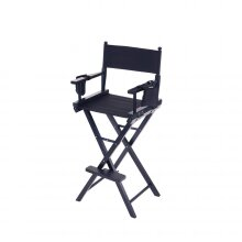 Oypla Professional Black Wooden Folding Director Makeup Chair with 2 Storage Pouches