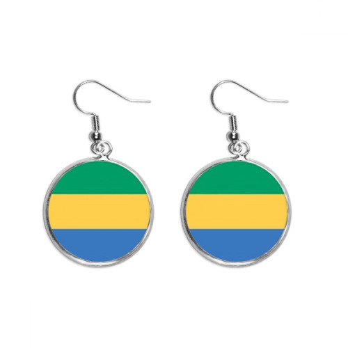 Gabon National Flag Africa Country Ear Dangle Silver Drop Earring Jewelry Woman