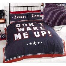 Don't Wake Me Up Single Duvet Cover Set Navy Bedding
