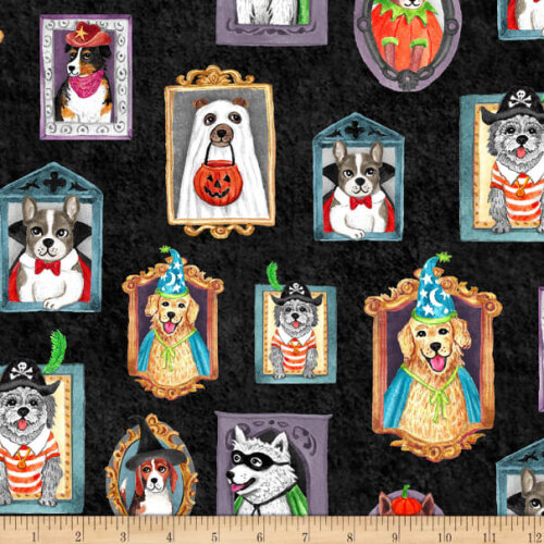 Fat Quarter Howl-O-Ween Halloween Dogs In Frames 100% Cotton Fabric