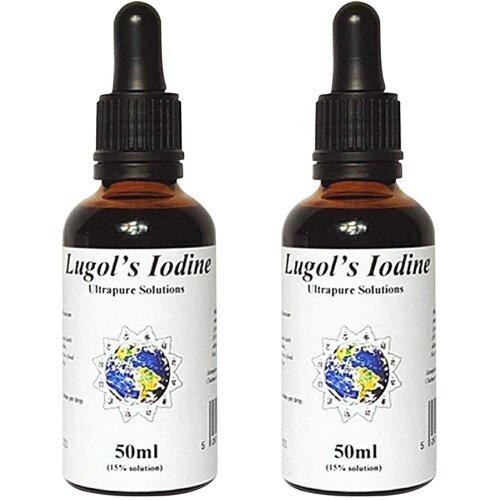 2 x 50ml Lugols Iodine 15% - Iodine Drops - Ultrapure Solutions