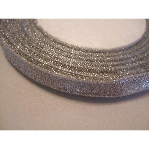 Organza Ribbon Roll - 10mm x 25 Yards (22 Metres) - Silver Sparkle