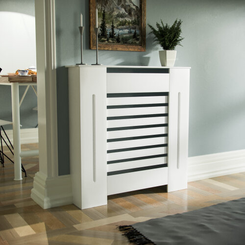 780mm Traditional MDF Wood Radiator Cover Matt Grill Cabinet White