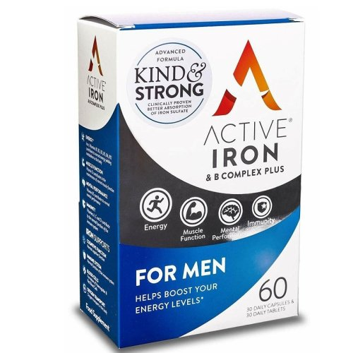 Active Iron & B-Complex Plus For Men - 30 Daily Capsules & 30 Daily Tablets