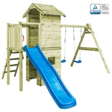 vidaXL Playhouse with Ladder Slide and Swings 390x353x268cm Wood Activity