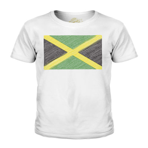 (White, 9-10 Years) Candymix - Jamaica Scribble Flag - Unisex Kid's T-Shirt