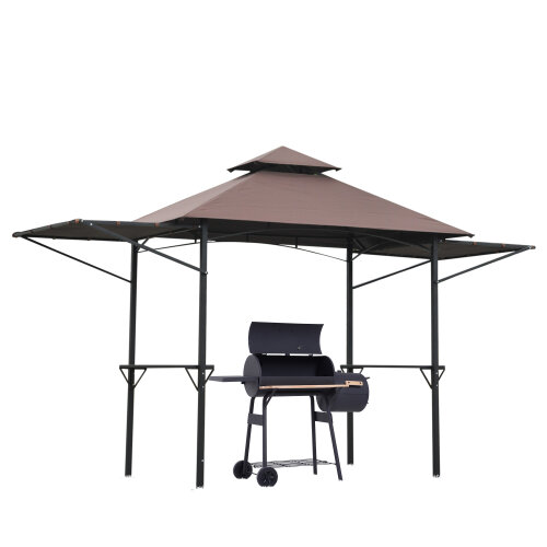 Outsunny Party BBQ Tent Outdoor Camping Patio Canopy Awing Waterproof Coffee