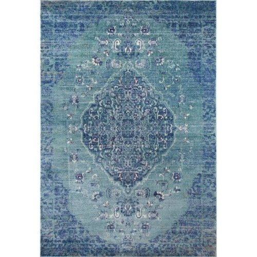 Momeni AMELIAM-02DEN3B57 Amelia Turkish Machine Made Area Rug, Denim - 3 ft. 11 in. x 5 ft. 7 in.