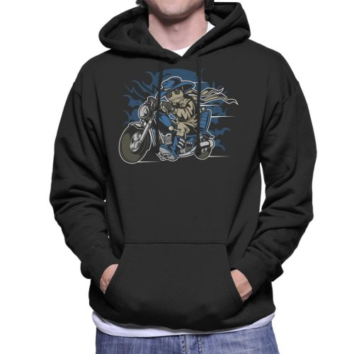 Voodoo Doll Biker Men's Hooded Sweatshirt