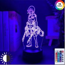 3D Night Light Attack on Titan Mikasa Ackerman Figure Girl