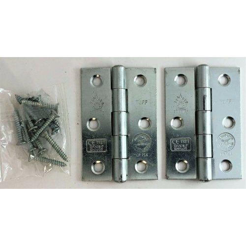 FD30/60 CE7 Certified Butt Hinges Doors Button Tip Chrome Brass Zinc Black 76mm