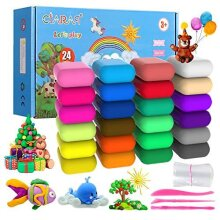 iFergoo Air Dry Clay Kit, 24 Colors Modeling Clay for Kids,with free tools and Manuals,Wonderful Air Hardening Clay,Educational Creative Gift for Ki