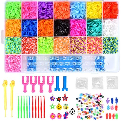 Loom Bands, Queta 6800 Loom Bands kits DIY Rubber Bands with Storage Box/ Knitting Tool For DIY Bracelet Necklace Children's Toy