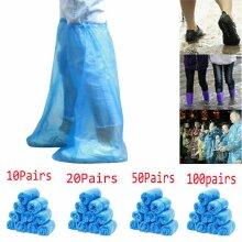 100 Pcs Disposable Plastic Shoe Cover Waterproof Outdoor Home Long Shoe Cover -Blue