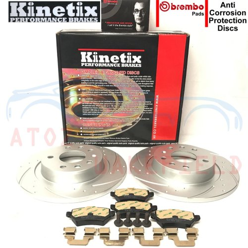 FOR VAUXHALL ASTRA H 2.0 VXR REAR DIMPLED GROOVED BRAKE DISCS BREMBO PADS SET