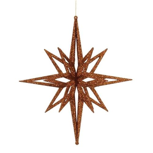 Vickerman M148328 Copper 3D Glitter Star Ornament, 16 in.