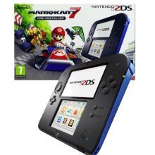 Nintendo 2DS Handheld ConsoleBlack/Blue + Pre-installed Mario Kart 7 3DS Bundle - Used