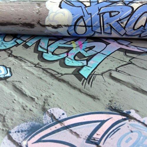 Muriva Graffiti Pattern Childrens Wallpaper Painted Brick Faux Effect Metallic[GREY L17906]