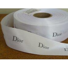 White Satin DIOR Ribbon 40mm Wide - 5 Metre Lengths