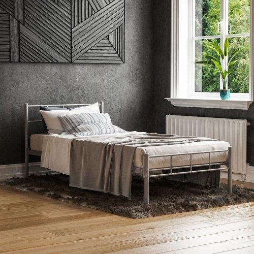 (Single, Silver) Vida Designs Dorset Metal Bed Frame   Modern Bedstead