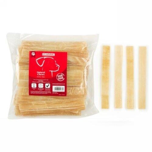 Dog Chew Treat Natural Snacks Handmade - 100 Flat Strips 165mm