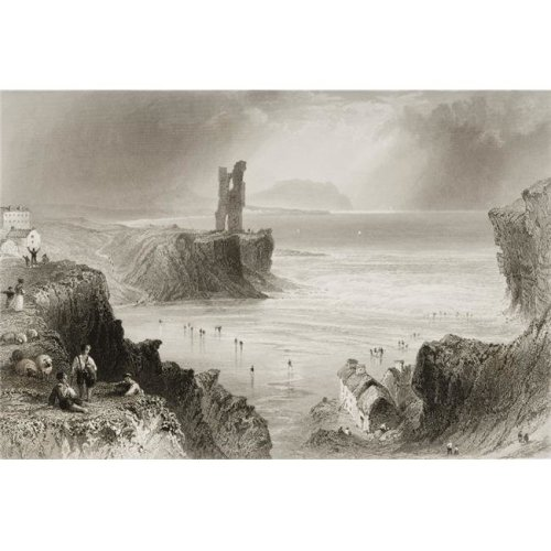 Ballybunian County Kerry Ireland Drawn by Whbartlett Engraved by J Cousen From the Scenery & Antiquities of Ir Poster Print, 17 x 11