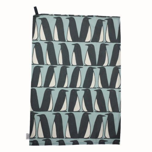 Scion Pedro Penguin Set of 2 Tea Towels, Ice Grey