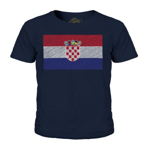 (Dark Navy, 5-6 Years) Candymix - Croatia Scribble Flag - Unisex Kid's T-Shirt