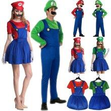 Kid Super Mario Luigi Bros Cosplay Costume Fancy Dress Outfit Playsuit