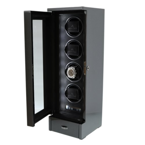 AUTOMATIC 4 WATCH WINDER CARBON FIBRE FINISH TOWER SERIES BY AEVITAS