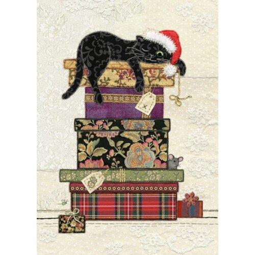 Bug Art Blank Christmas Greetings Card - Cat Presents