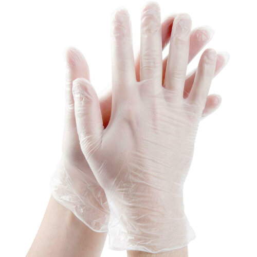 100 x Medical PVC Gloves Waterproof Disposable Gloves White L