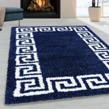 Navy Blue Fluffy Rug for Bedroom and Living Room Soft Thick Shaggy Geometric Carpet