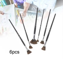 6x Brush Fan Shape Pen Wild Bristle Watercolor Painting Art Supplies