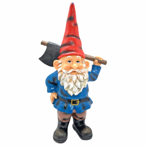 Large 30cm Garden Gnome Ornament Traditional Gnome with Axe Statue