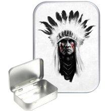 Indian Chief 30ml Silver Hinged Tobacco Tin, Gift Tin