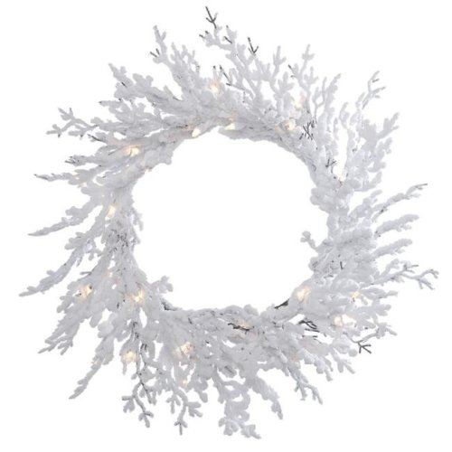 Vickerman B169531 Flocked Winter Twig Dura-Lit Wreath with Clear Lights, 30 in.
