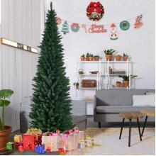 7ft Slim Christmas Pencil Tree Green Artificial Xmas Tree Festive