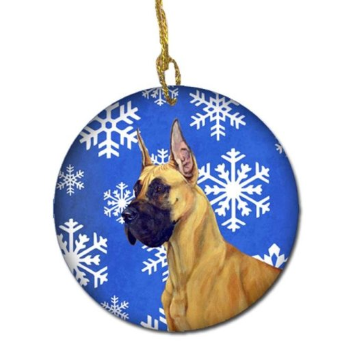 Great Dane Winter Snowflake Holiday Ceramic Ornament